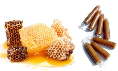 Производят свечи из меда из твёрдого, засахарившегося мёда, вылепляя из него торпедообразные вкладыши и замораживая их в морозильной камере