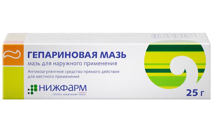 Гепариновая мазь – уменьшает узелки, снижает выраженность воспалительных процессов