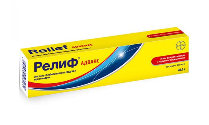 В препарате Релиф Адванс имеется анестетик бензокаин, позволяющий лечить наружный геморрой, проявляющийся болевым синдромом