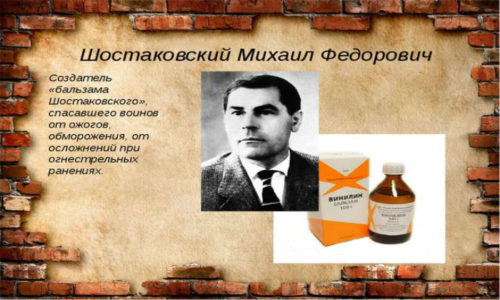 Бальзам Винилин был синтезирован в 1940 году в Институте органической химии Академии наук СССР профессором М. Ф. Шостаковским, поэтому лекарству присвоили его имя
