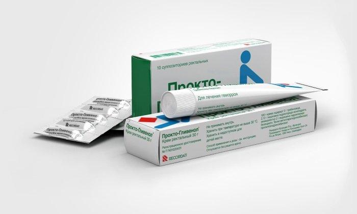 Крем и суппозитории Прокто-Гливенол содержат вещество трибенозид, которое уменьшает интенсивность кровотечения из кавернозных образований