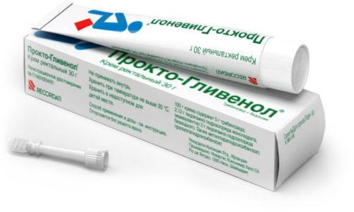 Мазь Прокто-Гливенол, проникая в зону поражения, действует как противовоспалительное средство