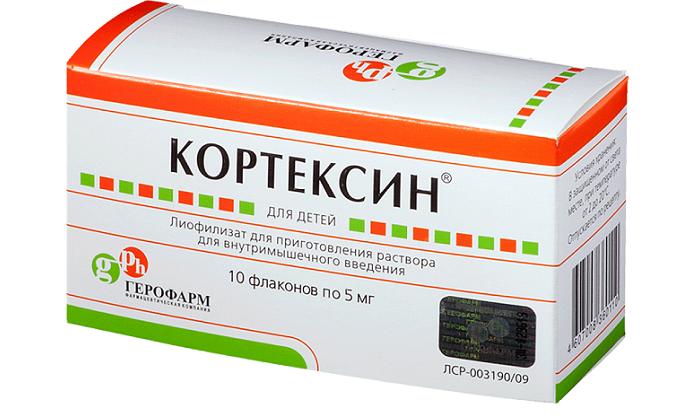Кортексин - порошок для приготовления раствора. Обладает антиоксидантным свойством, благодаря которому снижается негативное влияние кислородного голодания и уменьшается вероятность повреждения клеток
