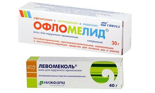 Офломелид и Левомеколь - антибактериальные средства, которые можно использовать для лечения гнойных ран