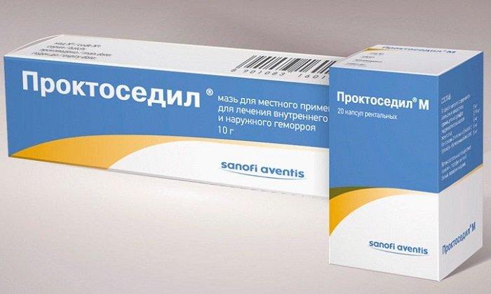 При геморрое, инфицированных трещинах анального отверстия, простатитах используют Проктоседил