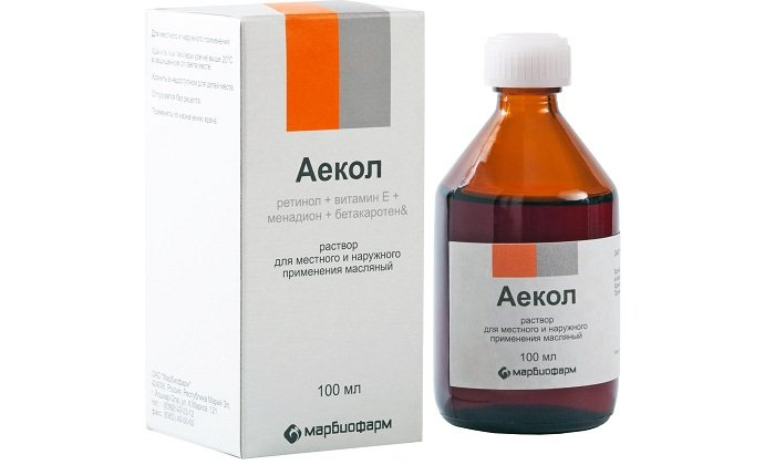 Аекол в форме раствора. Широко применяется при различных травмах, ожогах, ранах и заболеваниях женских половых органов