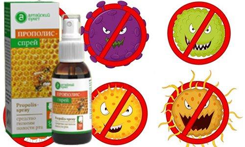 Спрей Прополис обладает бактерицидным, противовирусным, противогрибковым действием