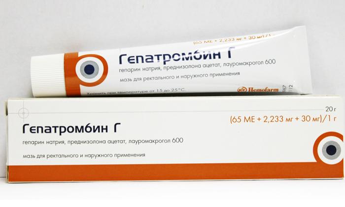 От острого и хронического геморроя лечение, прежде всего, подразумевает выбор комбинированных медикаментов, таких как Гепатромбин Г