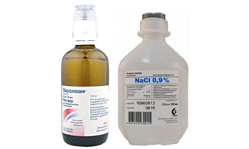 Для ингаляций используют стерильный изотонический раствор натрия хлорида 0,9%, при его смешивании с Лазолваном важно соблюдать пропорции 1:1