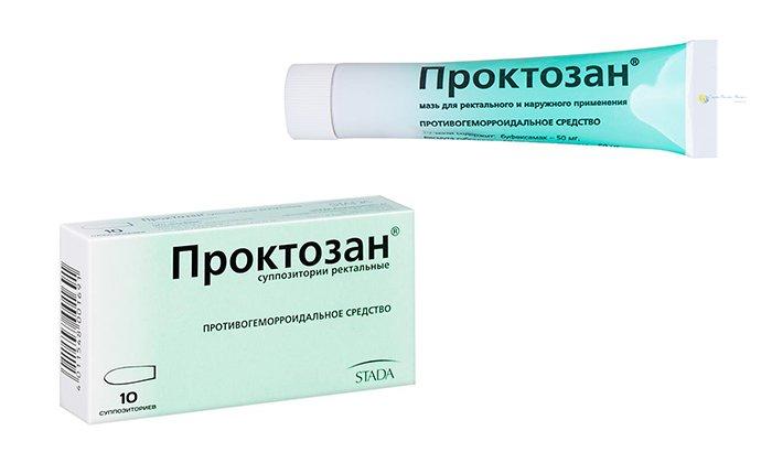 Проктозан выпускается в виде свечей и мази. Он оказывает противовоспалительное, подсушивающее, местное обезболивающее и вяжущее действие