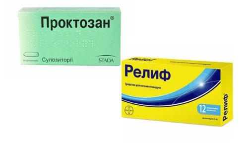 Для лечения геморроя, воспалительных процессов и трещин прямой кишки часто используется Проктозан или Релиф, а также их аналоги с комплексным составом и действием