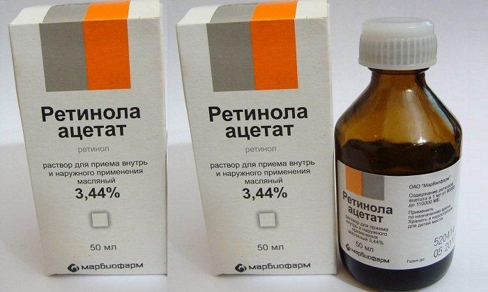 Препаратами на основе ретинола являются Ретинола ацетат в таблетках или раствор в масле