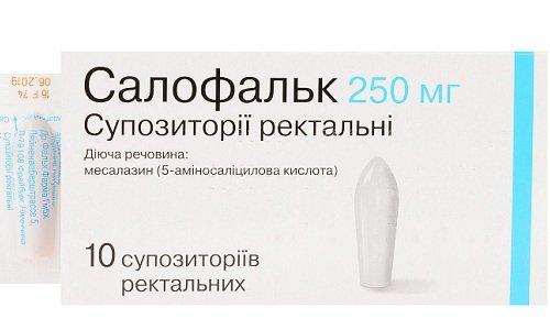 Активный ингредиент в суппозиториях Салофальк - месалазин, вещество из группы «Производные салициловой кислоты». Препарат выпускают в дозировке 250 и 500 мг активного вещества на каждый суппозиторий