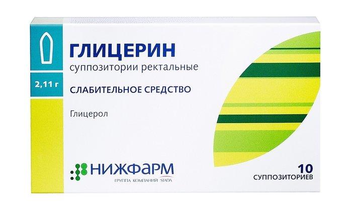 Глицерин выпускается в виде свечей и содержит глицерин дистиллированный (глицерол)