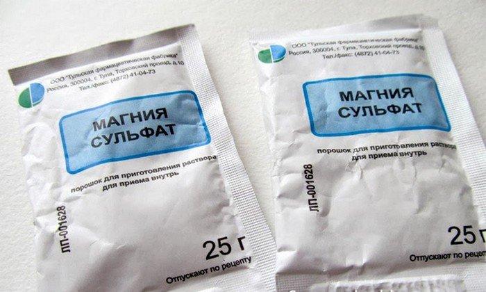Сухое вещество магния сульфат выпускается в емкостях по 25 г