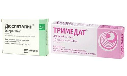 Миотропные спазмолитики, такие как Дюспаталин или Тримедат, применяются для устранения болей и улучшения кровоснабжения стенок органов ЖКТ