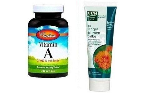 Мазь календулы и витамин А при использовании в комплексе могут быть более эффективными, чем многие косметические средства