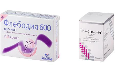 Для устранения нарушения венозного кровотока часто применяется Флебодиа 600 или Троксевазин