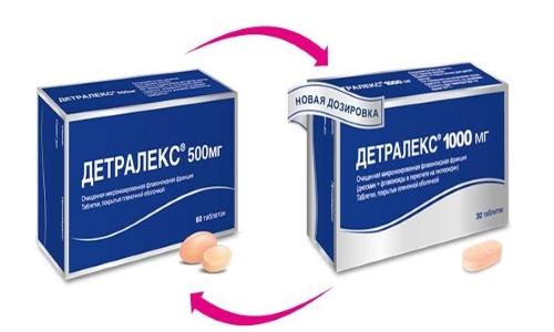 При выборе Детралекса 500 или 1000 роль играет содержание действующего вещества